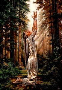 Indian Maiden Pray in Woods