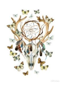 Deer skull with butterflies and dream catcher