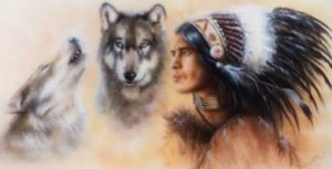 Indian warrior with wolves
